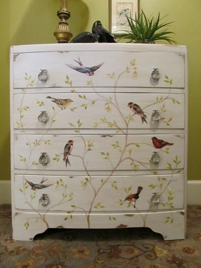 painted chest of drawers with painted and decoupaged bird and tree motif