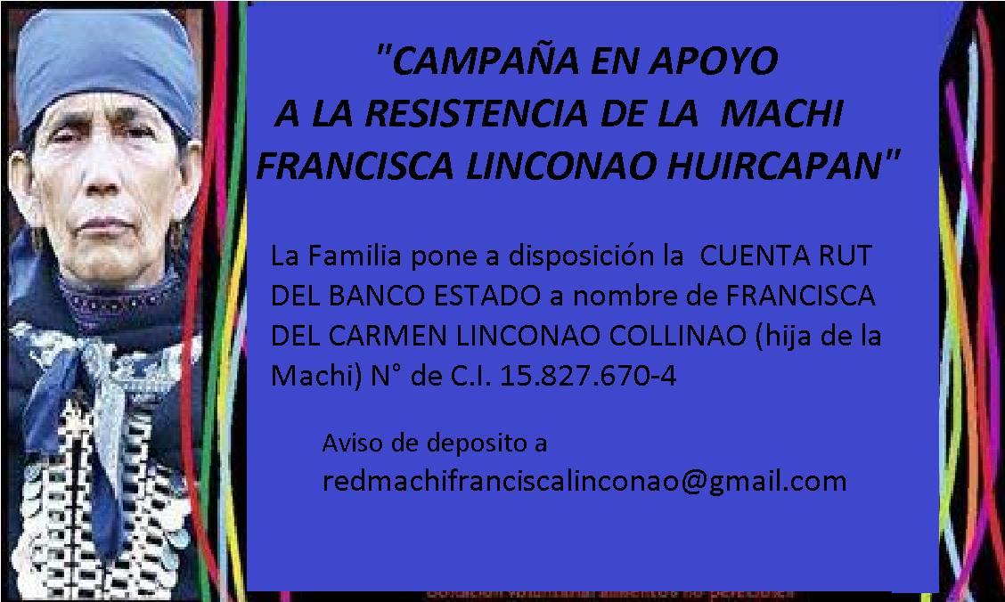 CAMPAÑA EN APOYO A LA RESISTENCIA DE LA MACHI FRANCISCA LINCONAO HUIRCAPAN
