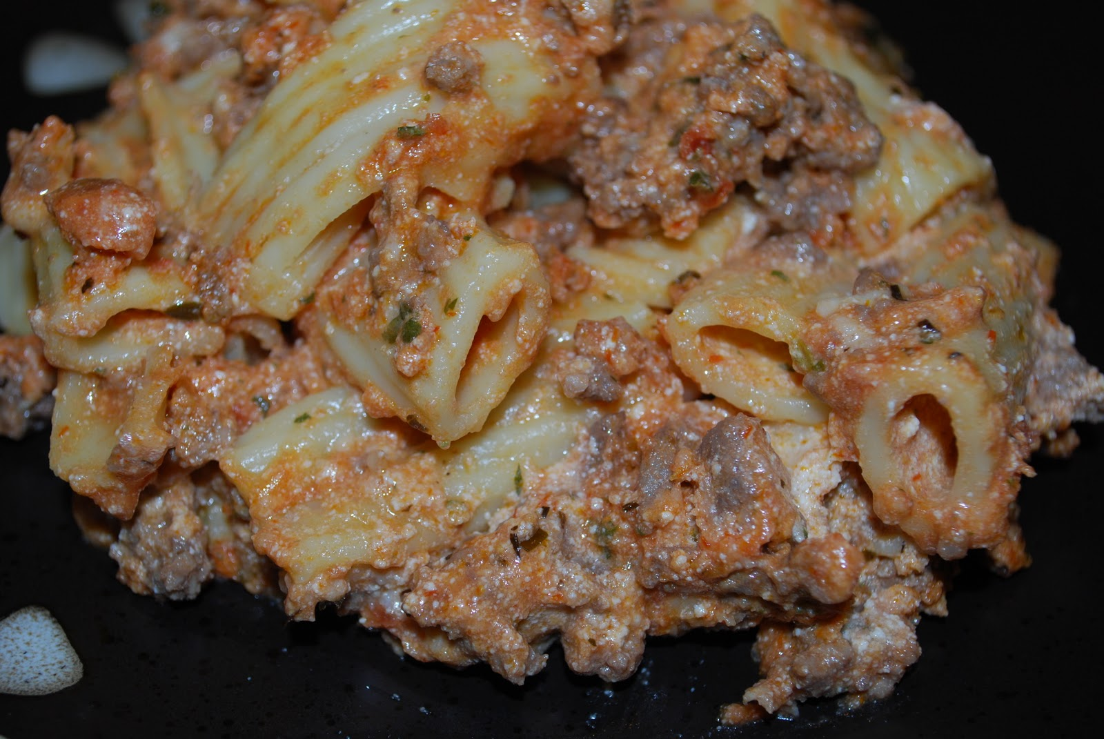 Baked Rigatoni with Meat Sauce - Carrie's Experimental Kitchen