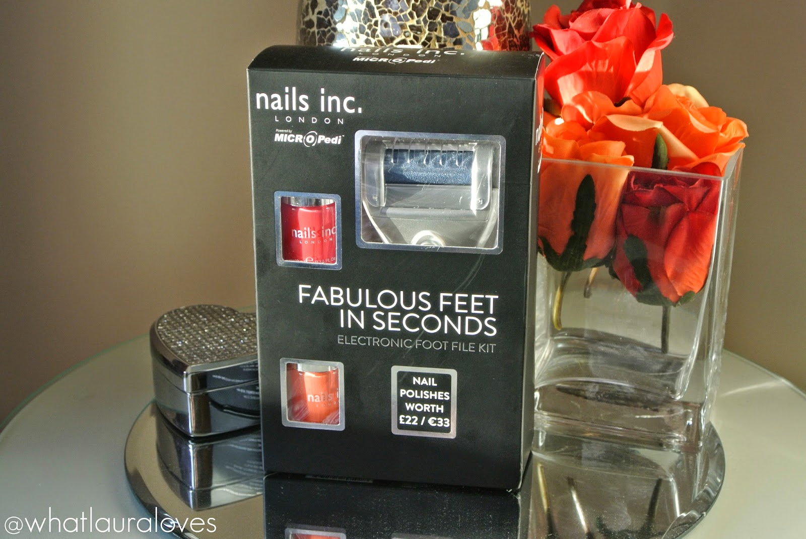 Nails Inc and Micro Pedi Fabulous Feet in Seconds Electronic Foot File Kit