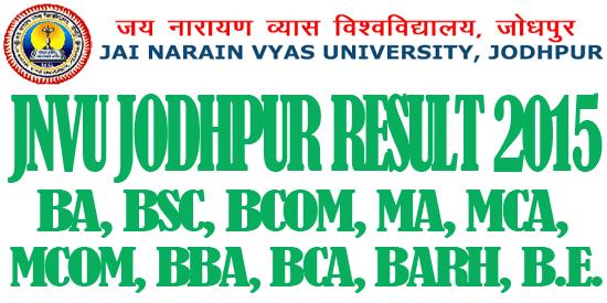 JNVU Jodhpur University Result 2016