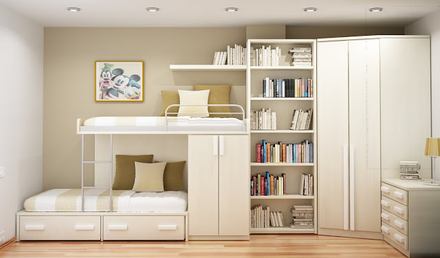 awesome minimalist white wooden bedroom storage cabinets on laminate wood flooring with modern bunk bed with storages
