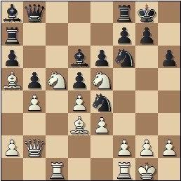 Partida de ajedrez Álvarez - Pérez, posición después de 21...Cge4