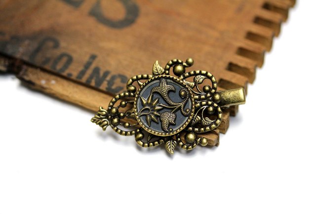 Thistle Filigree Hair Clip #antique #thistle #hair #accessory