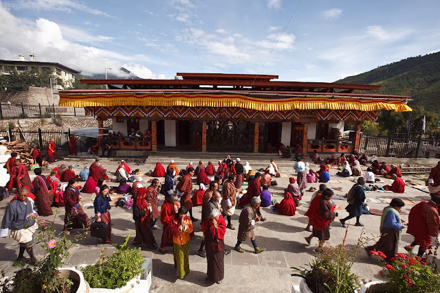 A religious ceremony at Thimphu chorten
