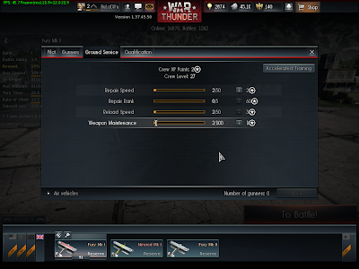 War Thunder - Crew 1 Ground Service Stats