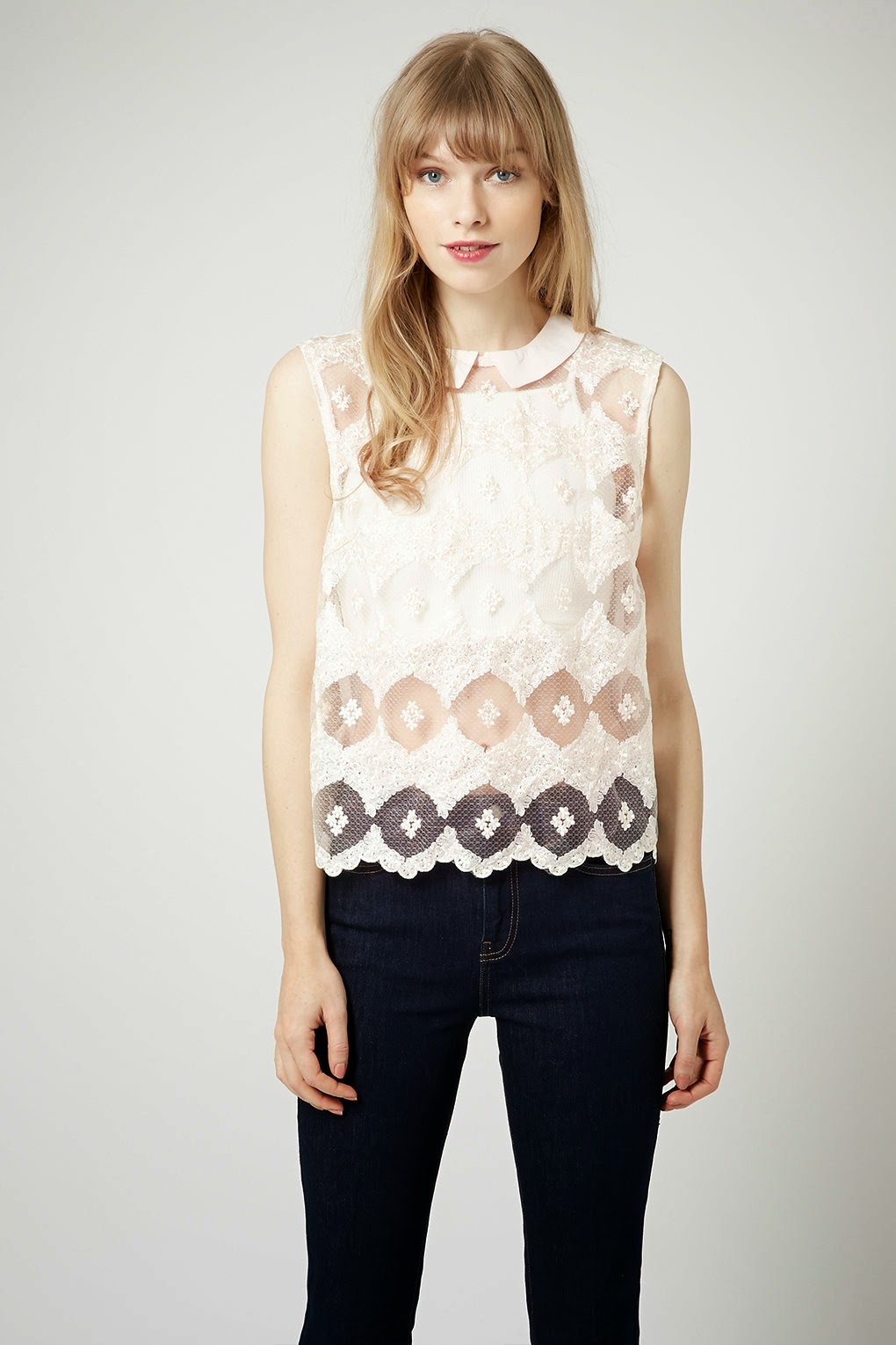 cream lace shell top, topshop lace collar top,