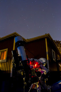 my astrophotography rig points up at the night sky from my backyard in St. Catharines