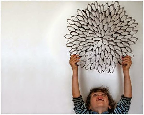 Wall Art Made Out of Toilet Paper Rolls