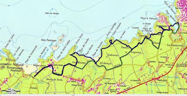 Mapa topográfico Senda costera desde la Playa de Tapia a la Playa de Peñarronda
