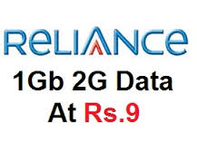 Reliance - Get 1GB 2G Data at Just Rs.9