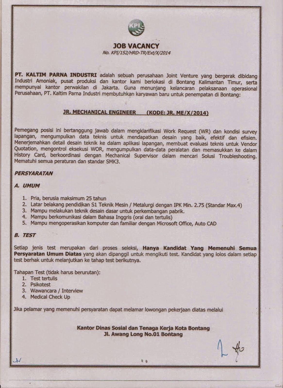Lowongan Kerja PT Kaltim Parna Industri Oktober 2014 : Junior Mechanical Engineer