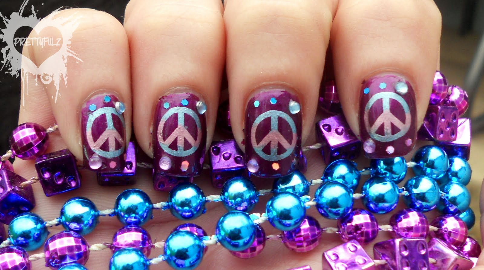 This Peace Sign Nail Art Design Was Completely Unplanned But I Absolutely Love The Way It Came Out Knew Wanted To Do A Multi Colored Stamp And