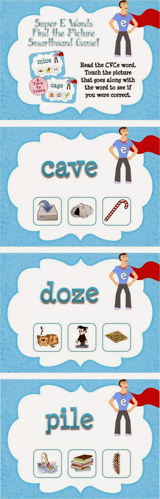 Super E / CVCe Find the Picture Game for Smartboard or Promethean Board!
