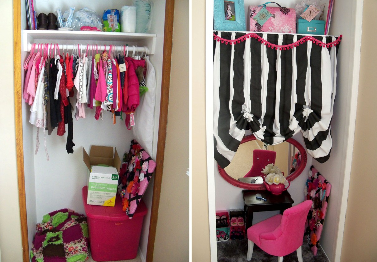 Baby girl 39 s closet makeover easy 1 day project my for Ideas para colgar fotos