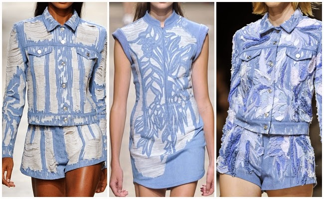 cf. Barbara Bui 2014 SS Blue Ombre Shredded Fringed Shorts