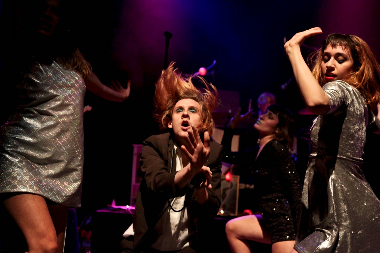 Foxygen and Star Power on stage and performing at the Fox Theater in Boulder, Colorado.