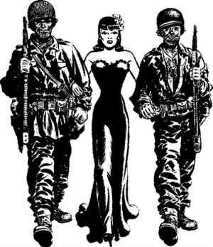 Black and White cartoon of two soldiers walking on either side of dark haired woman in evening dress.