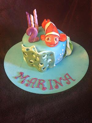 tarta nemo; tarta marina; tarta fondant nemo; tarta fondant; tarta decorada nemo; tarta decorada; pelicula nemo