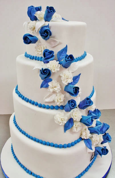 Royal Blue And White Wedding Cake