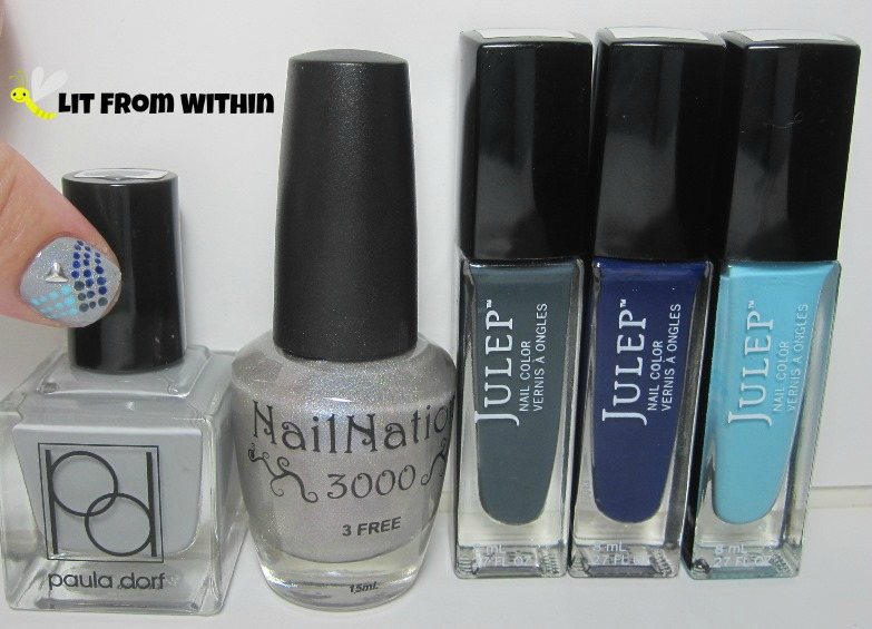 Bottle shot:  Paula Dorf Stormy, NailNation 3000 Dancing In The Sky, and Julep Josephine, Char, and Something Blue.