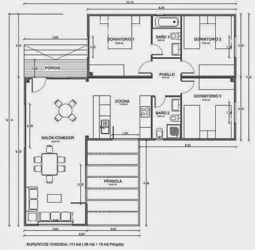 Planos de Casas: Plano 112 m2 de diseño