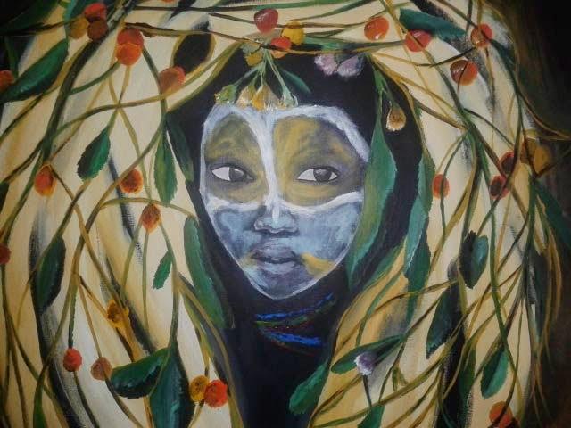 rostro africano con adornos