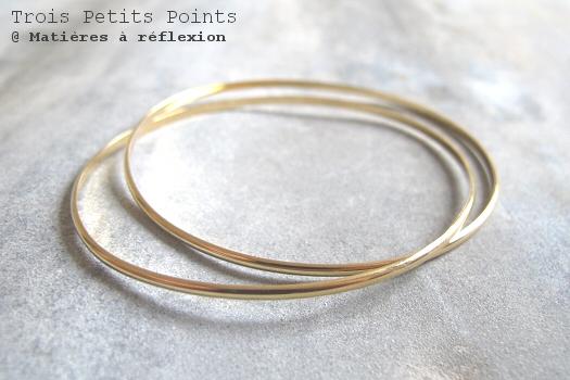 Bracelet Trois Petits Points 2 joncs Curve doré