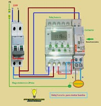 Reloj horario contactor maniobra motor bomba piscina for Reloj piscina