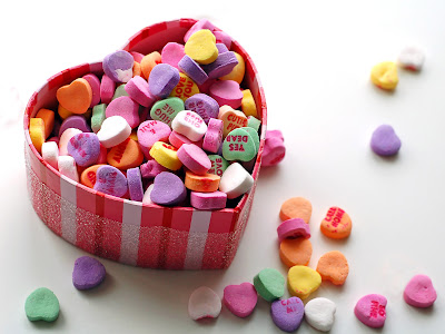 Corazón lleno de dulces para el 14 de febrero