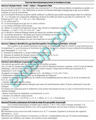 exercices sur le premier et deuxième principe de la thermodynamique semestre 1