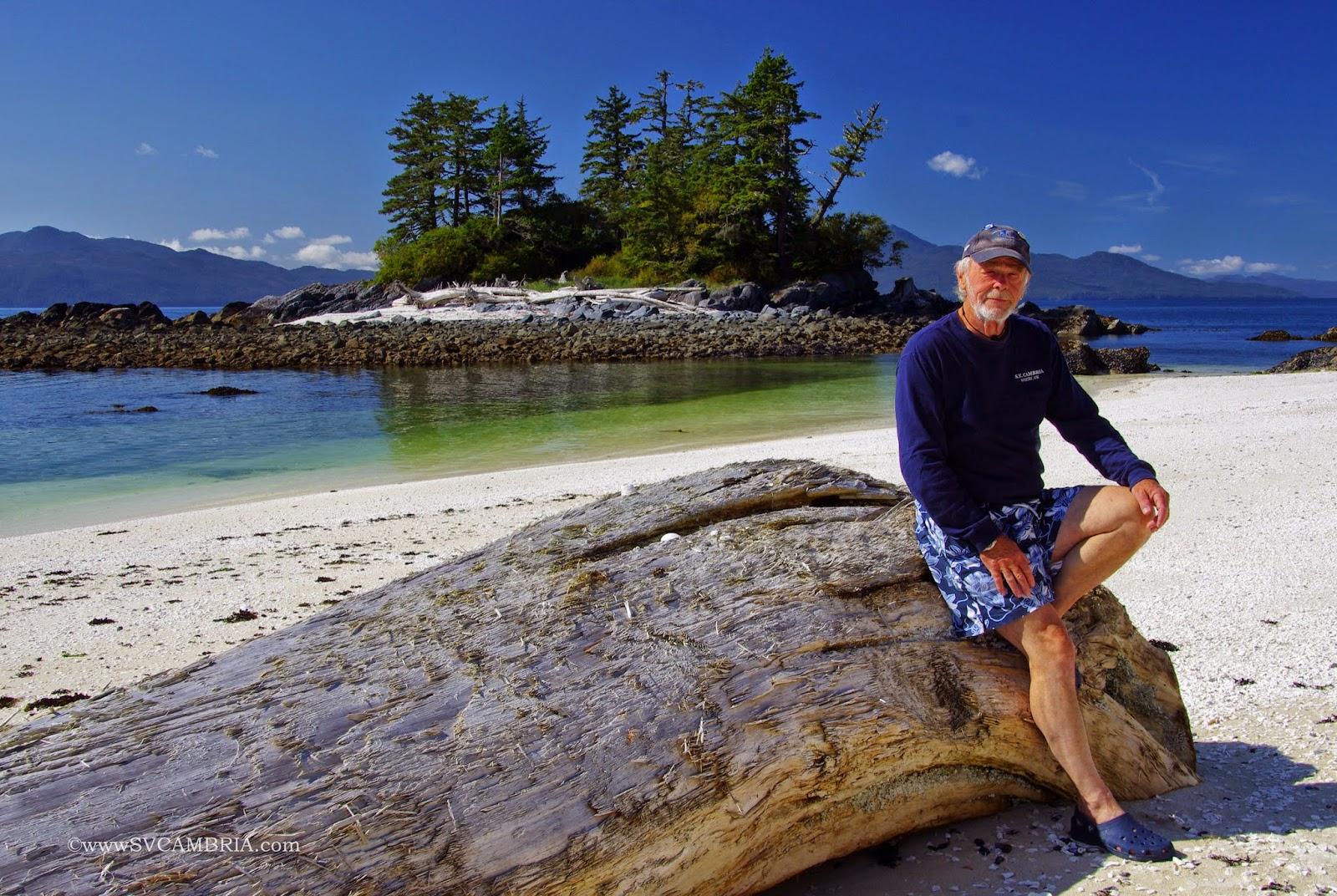 David on the beach at Fury Island.