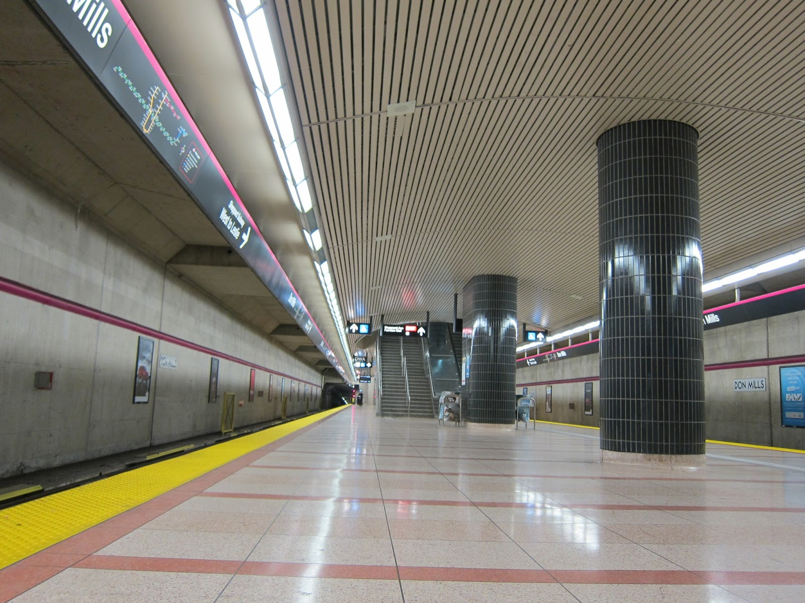 High ceilings at the subway platform level at Don Mills station