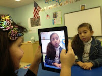 Students using iPad camera