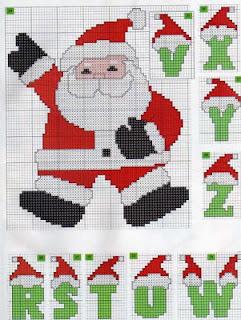 Gráficos ponto cruz alfabeto de natal