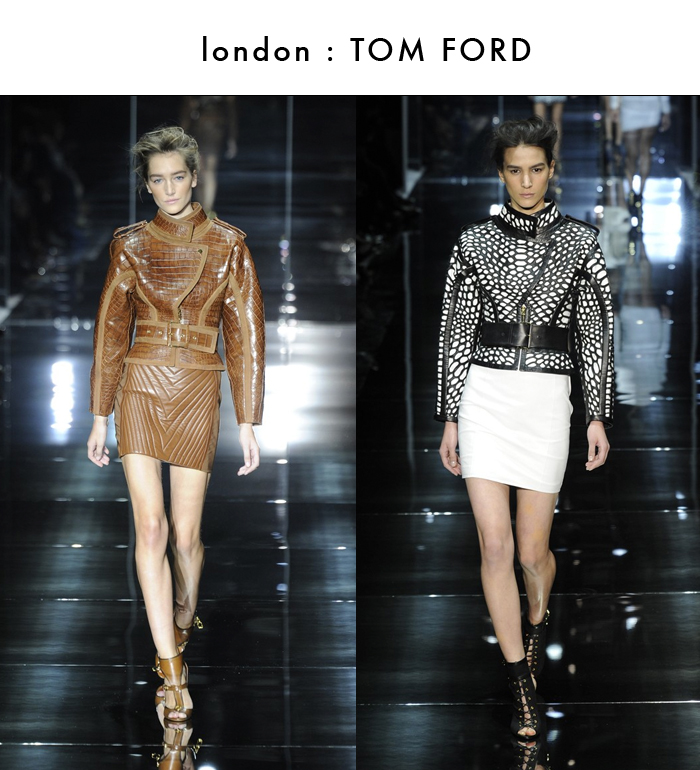spring rtw 2014, tom ford, chevron skirt, leather skirt, strong shouldered jacket