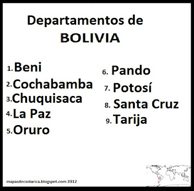 Departamentos de Bolivia , organizacin territorial