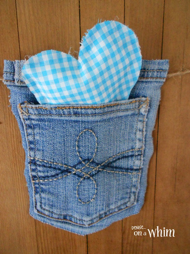 Fabric ScrapHeart in a Jean Pocket from Denise on a Whim