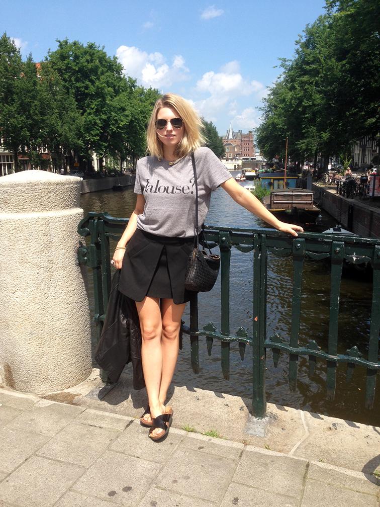 Jalouse Chrldr grey tee, Zara folded mini skirt, H&M slide sandals, Bottega Veneta intrecciato cross body bag, downtown Amsterdam Canal, Europ, Europtrip