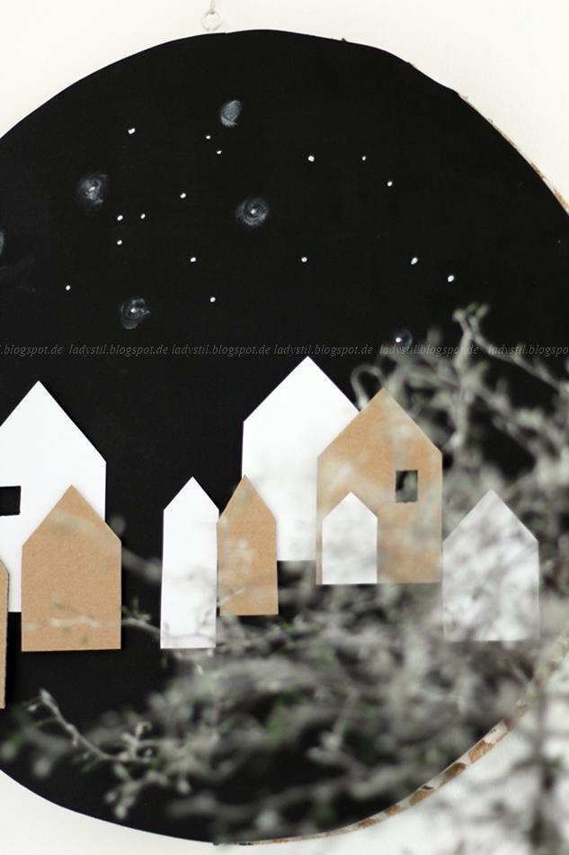 weihnachtliches Wandbild DIY mit Häusern