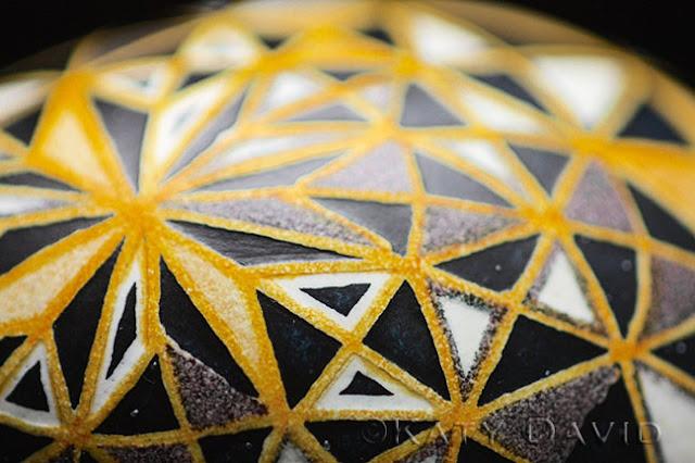 """Yellow Star Trapeze"" 2015, Goose egg, aniline dye, varnish, ©Katy David"