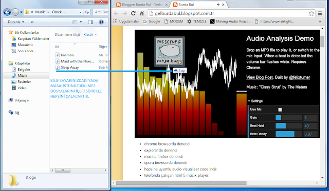 Mobil html5 müzik oynatıcı audio visualizer