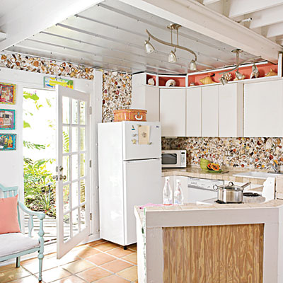 The backsplash in this kitchen is all Shells !