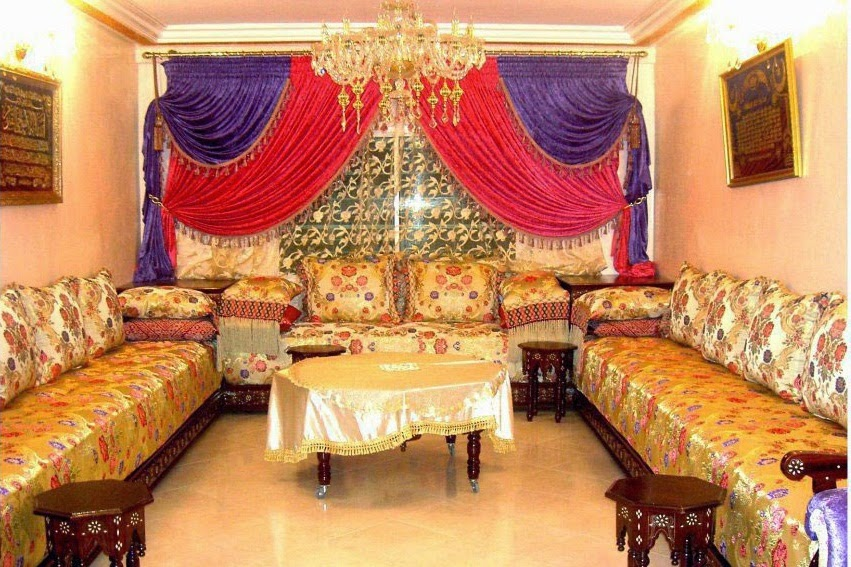 d coration salon marocain rideaux occultant style marocain. Black Bedroom Furniture Sets. Home Design Ideas