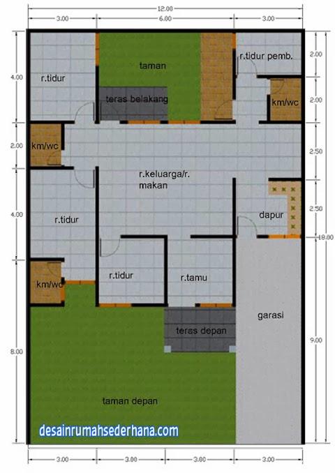 Desain rumah type 120/220 - denah