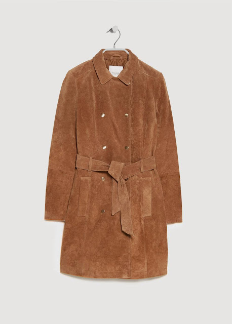 Mango Suede Coat shop online  - Tan colour real leather