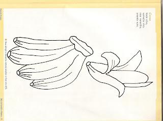 Risco para pintura em tecidos, penca de bananas