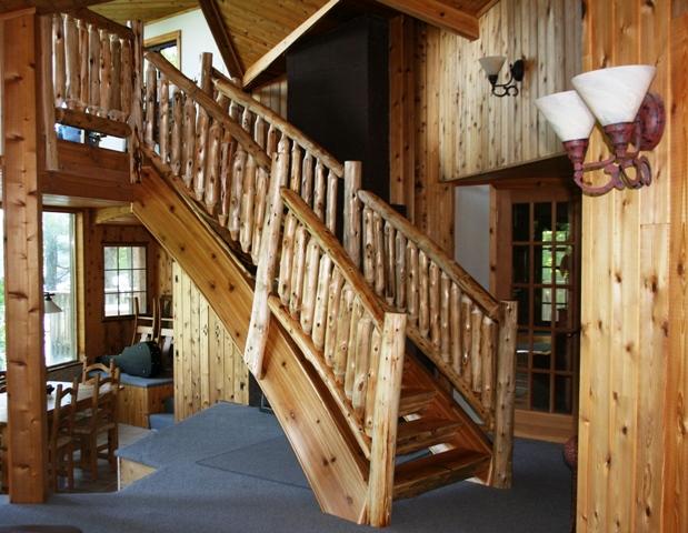 Rustic Log Railing ~ Log furniture barnwood rustic