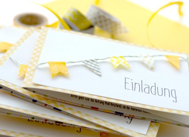 Einladungskarten Richtig Selbst Gestalten So Geht S: DIY // Einladungskarte Mit Wimpelkette Aus Washi Tape