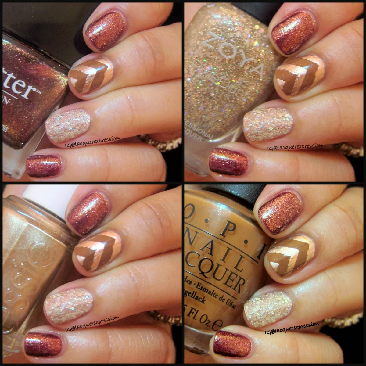Fall inspired manicure using butter london brown sugar  zoya bar essie penny talk o.p.i. a-piers to be tan
